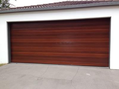 Timber look sectional door
