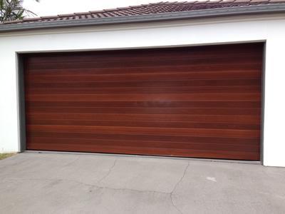 Timber look sectional door
